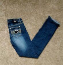 Antique Rivet Size 3 26 Skinny Jeans Stretch Black Embellished Metal Rockstar