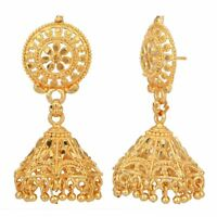 Indian Jhumka Gold Plated Earrings Ethnic Wedding Fashion Jewelry By Jewelfy