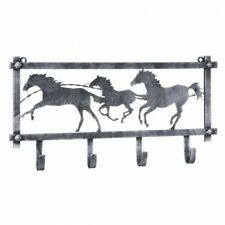 JTI Horses and Barbwire Wall Rack in Hammered Finish