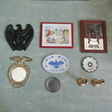 Vtg 70s Dollhouse BICENTENNIAL PICTURE ARTISAN PLATE LOT Mid Century Patriotic