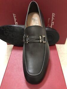 NIB Salvatore Ferragamo Tucker Gray Leather Loafers 12EE