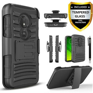For Motorola Moto G7 Play / Optimo / Phone Case Cover+ Tempered Glass Protector