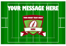 ANY RUGBY TEAM A4 CAKE TOPPER PITCH/CREST/STADIUM  ICING SHEET BIRTHDAY