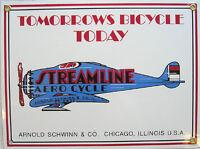 Streamline Aero Cycle Airplane Flight Flying Vintage Aviation Metal Sign