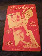 Partition Evelyne Lisette Jambel Raymond Girerd 1951 Music Sheet