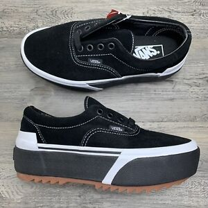 Women's Vans Era Stacked Platform  Size 6 Sneaker Suede Black White Gum Bottom