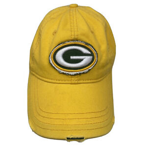 Green Bay Packers NFL Football Yellow Distressed Strap Back Hat Cap
