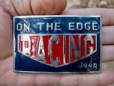 Vtg ON THE EDGE Belt Buckle JEEP Racing Off Road Cherokee ROD Chrome RARE VG++