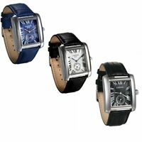 Men Square Dial Date Quartz Analog Watches Leather Band Sport Wrist Watch