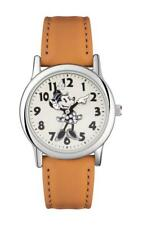 DISNEY MINNIE MOUSE WOMEN'S SILVER CASE TAN STRAP WATCH - MN1550 - RRP:£30