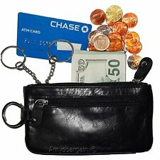 Black Leather change purse, Zip coin wallet, 2 pocket coin case w/key ring BNWT
