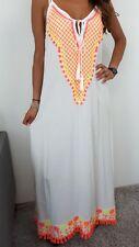★Träger Kleid Lang Maxikleid Strandkleid Stickerei IBIZA weiss Neon pink ★ M L