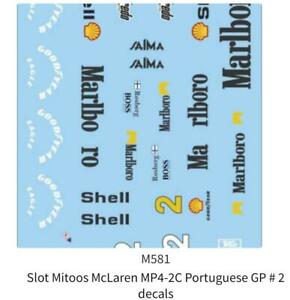 Mitoos M581 Mclaren MP4-2C Portuguese GP #2 F1 1:32 Scale Decals New
