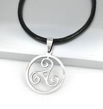 Silber Keltischer Triskelion Spiral Edelstahl Anhänger Schwarz Leder Halskette