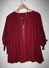 dgoodthings NEW:polyester open front kimono/cover-up,sleeves tie(XL-2XL)maroon