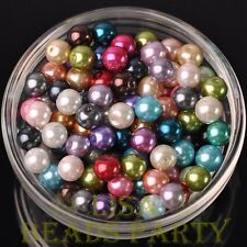 30pcs 8mm Round Glass Pearl Loose Spacer Beads Jewelry Making Mixed Color
