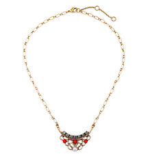 Modern Anthropologie Celtic Weave Red White Pearl Gold Necklace