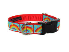 Clip dog collar 1 inch. Side release. Red Rainbows