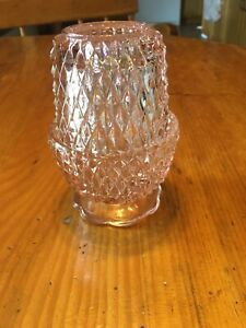 Vintage Indiana Light Pink Glass Diamond Point Fairy Lamp So Pretty