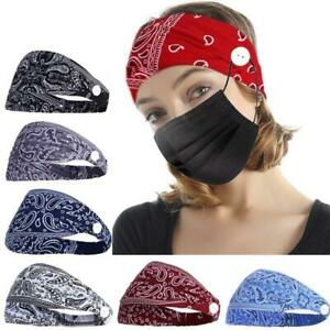 Women Boho Headbands with Buttons for Face Mask Ear Protection Holder Elastic