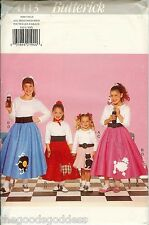 Butterick 4113 Girls 1950s Poodle Skirt Costume sewing pattern Record Cat UNCUT