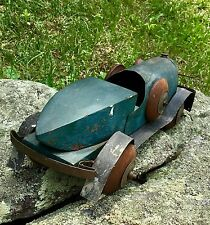 Folk Art Wood And Tin Toy Car Hand Made Boat tail Roadster
