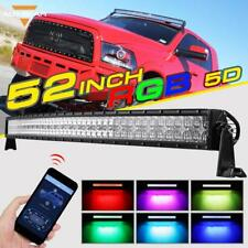"AUXBEAM 52"" Curved RGB CREE LED Light Bar Multi Color Rock Flash Bluetooth Truck"