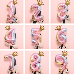 32 inch Crown Number Foil Balloon Digit Ballon Birthday Anniversary Party Decor