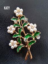 Vintage Enamel Pearls Flower and Leaves BROOCH Pin Twig Crystal Gift Diamante
