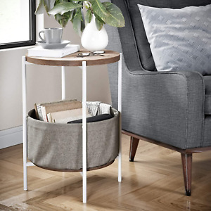 Nathan James Oraa Round Wood Nightstand, Bedside, End or Side Table with Metal