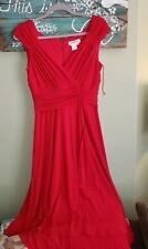 $129 New COLDWATER CREEK Rayon Soft Red Stunning Dress Women Size 8 Midi Length