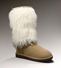 UGG Australia Tall Sheepskin Cuff Mongolian Sand Tan Boots 5 Womens 3166 RARE DS