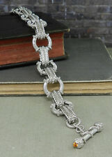 Judith Ripka Textured Sterling Link Bracelet with Citrine Toggle Clasp