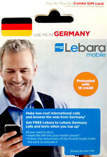 Germany prepaid Lebara Tourist Sim card with €1 credit free roaming ship from Us