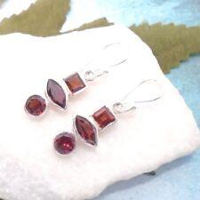 Granat rot eckig rund modern Design Ohrringe Ohrhänger 925 Sterling Silber neu