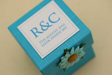 1 x Handmade Personalised BRIGHT BLUE Favour Boxes - Any Qty Any Design