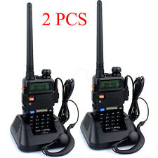 2 x Baofeng UV-5R Black Double Band Talkie Walkie FM Radio + Pofung Écouteur FR