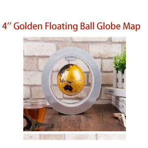 World Map 4 inch Floating Golden Magnetic Rotating World Map Craft Fashion Gift