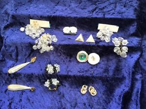 Vintage Clip Earrings - Costume jewellery- 8 Pairs Of Beautiful Earrings .lot1