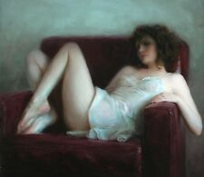 Sexy Woman on the Couch Oil painting Giclee Printed on canvas 12X16 inch P620