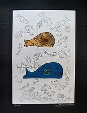 MARTIN BAROOSHIAN Hand Signed Limited Edition Etching BIG FISH EAT LITTLE FISH
