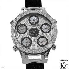 TECHNO COM by KC New Genuine Diamond Watch w/ 3 Time Zones, .20 ctw