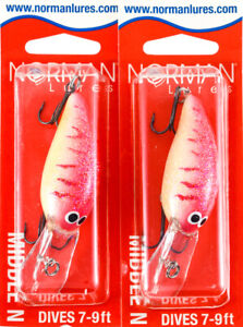 (LOT OF 2) BILL NORMAN MIDDLE N 3/8OZ GMN-165 WHITE/RED/ZEBRA I5421