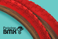 "Kenda Comp 3 III old school BMX skinwall gumwall tires 20"" STAGGERED PAIR - RED"