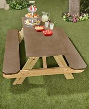 3-Pc Picnic Table Bench Cover Set Elasticized Edges Snug Fit In Brown