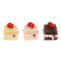 3X Square Cake Dollhouse Miniature Bakery Food Accessory 1/12 Scale