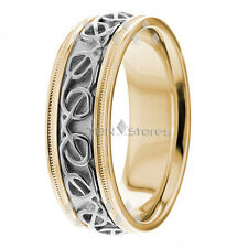 10K Gold Celtic Knot Wedding Bands Rings Mens Womens Two Tone Wedding Bands Ring