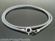 """2mm Grey Leather & Sterling Silver Necklace Or Wristband 14"""" 16"""" 18"""" 20"""" 22"""" 24"""""""