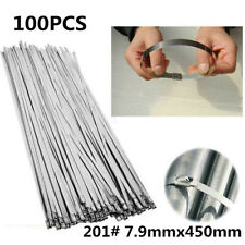 100PCS 7.9X450mm Stainless Steel Cable Zip Tie Wraps 201 Grade Excellent Quality