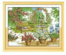 BEAUTIFUL GARDEN COUNTED CROSS STITCH KIT 14 COUNT AIDA SIZE 35x28CM